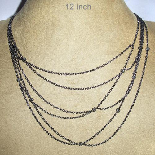 Diamond Pave Multi Layer Silver Chain Necklace