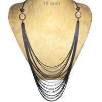 Smoky Layers Silver Moonstone Diamond Necklace