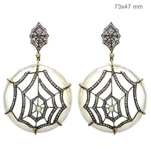 Spider Web Onyx Diamond Silver Dangle Earrings