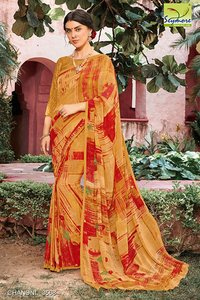 Plain Embroidered Saree