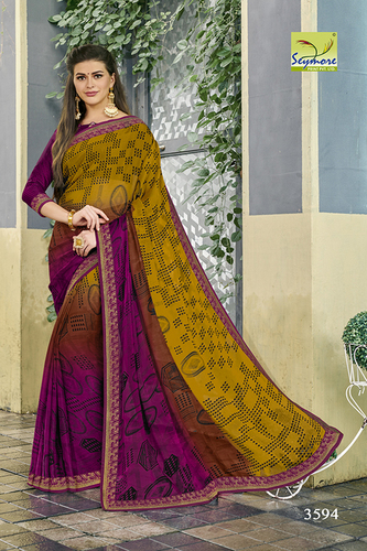 Georgette Border Saree