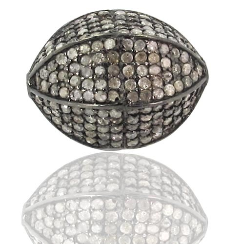 Pave Diamond Silver Beaded Finding