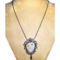 Victorian Lady Gemstone Cameo Carving Necklace