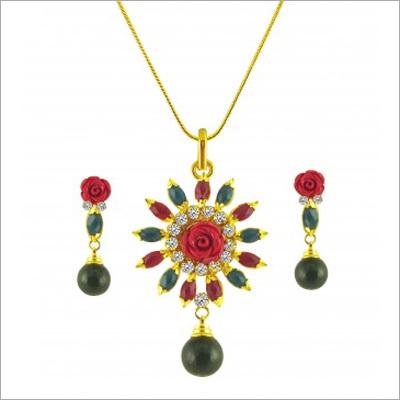 Zevarat Colour Ful Pendent Necklace Set