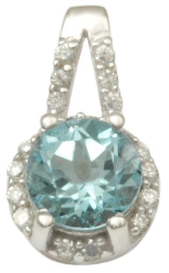 blue topaz round cut silver pendant with cz stones, silver pendant