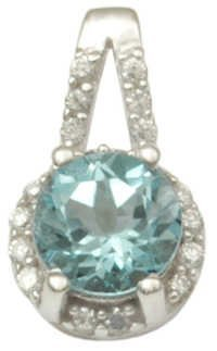 blue topaz round cut silver pendant with cz stones, silver pendant