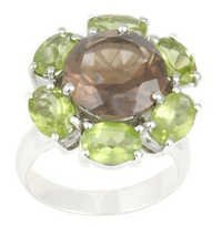 silver green rings, Peridot ring in silver