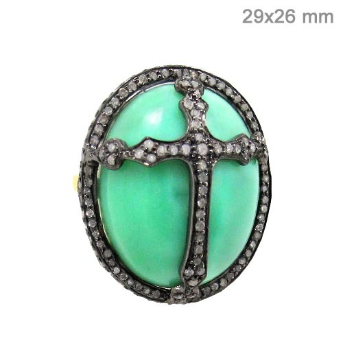 Chrysoprase Diamond Pave Holly Cross Ring