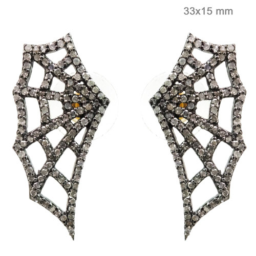 Spider Web Diamond Gold Earrings