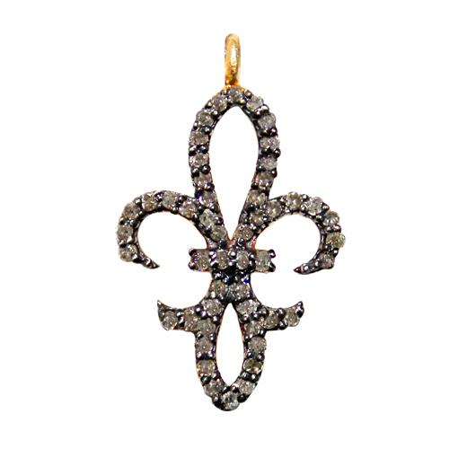 Diamond Fleur de lis Silver Pendant