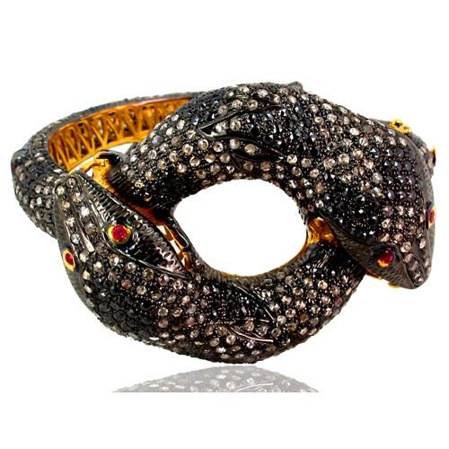 Yellow Gold Ruby Diamond Silver Amazing Snake Bangle