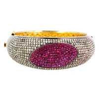 Pave Diamond Ruby Silver Gold Bangle