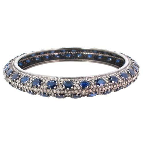 Pave Diamond Sapphire Silver Wedding Bangle