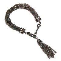 Labradorite Beads Silver Tassel Bracelet