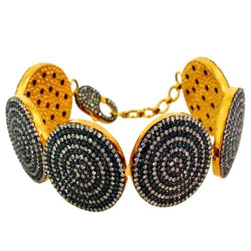 Yellow Gold Blue Diamond Pave Silver Bracelet