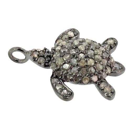 Turtle Diamond Silver Charm/Pendant Finding