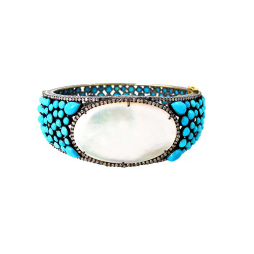 Gold Pearl Turquoise Diamond Silver Gemston Bangle