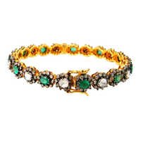 Diamond Gold Emerald Bangle
