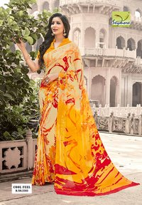 Printed orange Saree