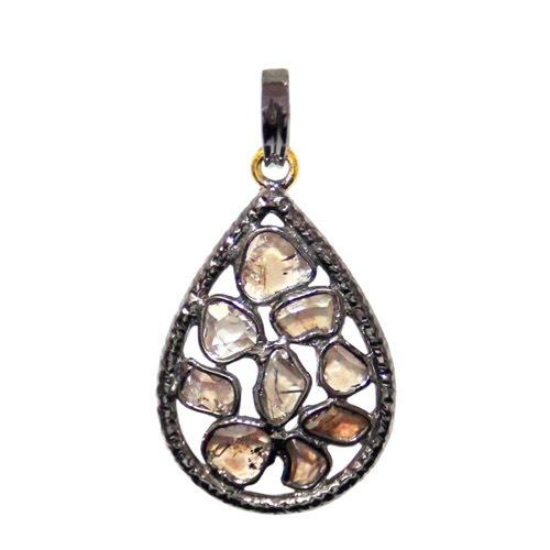 Gold Drop Natural Diamond Silver Pendant