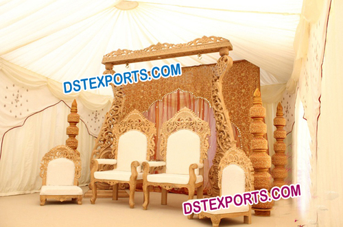 Indian Wedding Wooden Csrved Stage Set