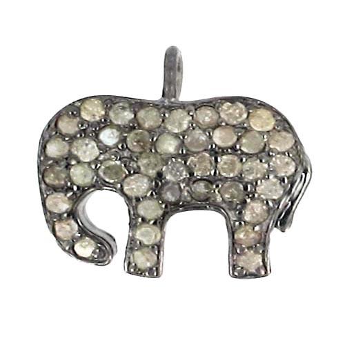 Elephant Diamond Silver Animal Charm Jewelry