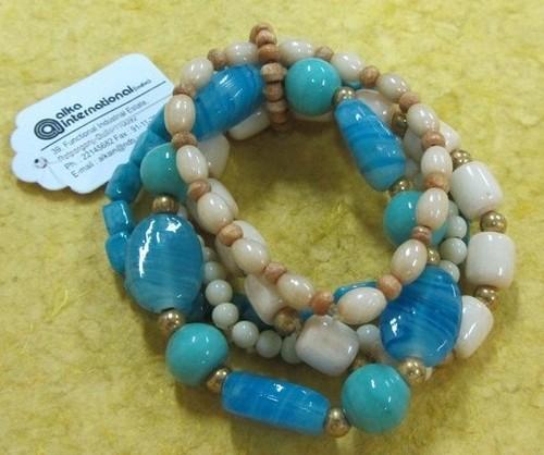 Glass wooden metal beads Bangle