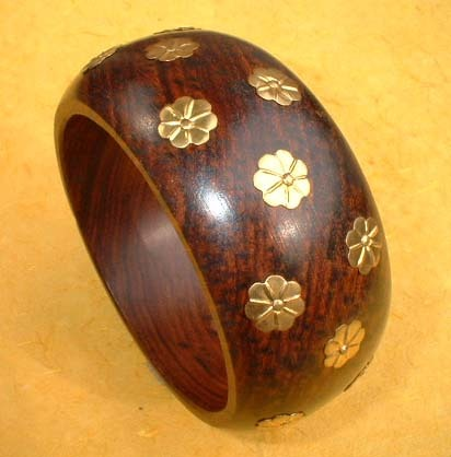 wood metal inlay combo Bangle