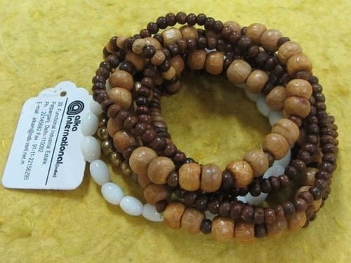 wooden glass beads combo Bangle