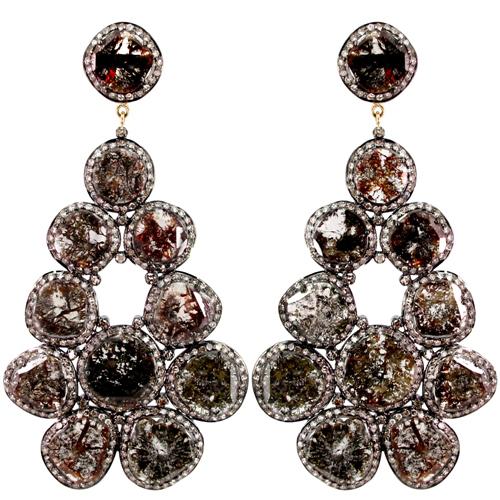 Slice Diamond 14k Yellow Gold Dangle 925 Sterling Silver Earrings