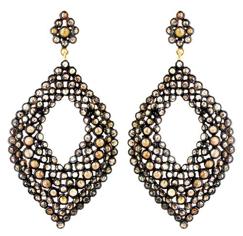 14k Gold Slice Diamond Earring