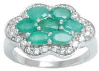 emerald and cz silver jewelry for girls, elegant silver rings designs online,  flower design jewelry