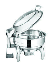 Round Glass Lid Chafer with Dual Heat Source