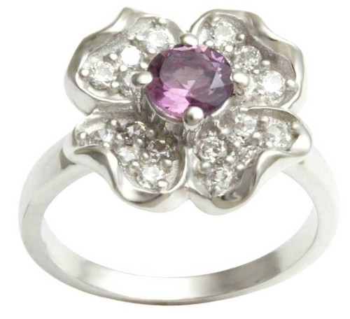 925 silver ring for women, stylish silver ring for sale, beautiful gemstone flower ring in silver