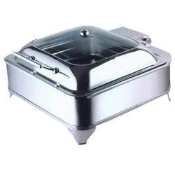Square Glass Lid Chafer with Stand & Electric Heat