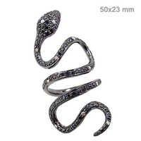 Diamond Studded Vintage Silver Snake Ring