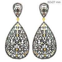 Designer Vintage Gold Diamond Silver Dangle Earrings