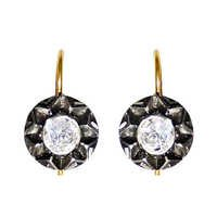 Yellow Gold Center Diamond Studded Vintage Silver Earrings