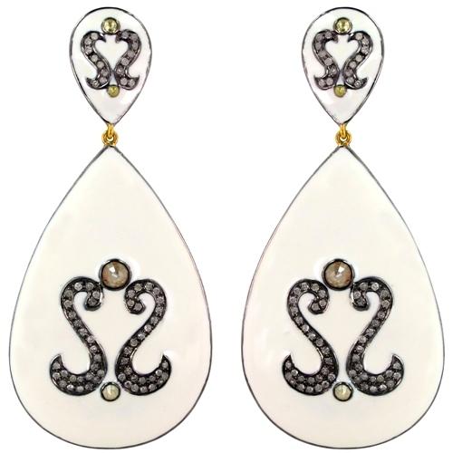 Enamel Sterling Silver Diamond Studded Drop Gold Earrings