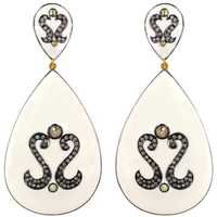 Enamel Sterling Silver Diamond Studded Drop Gold Earrings