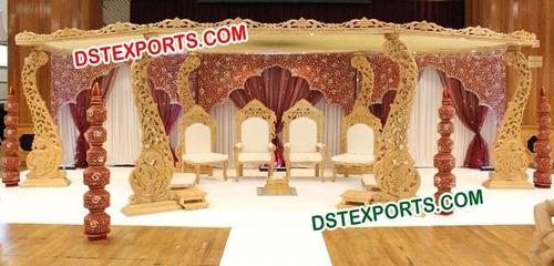 Wedding Wooden Carved Mandap Set