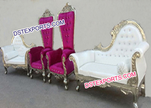 Asian Wedding Decorated Silver Stage Furniture