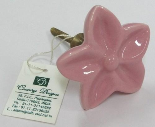 metal ceramic flower  door knob
