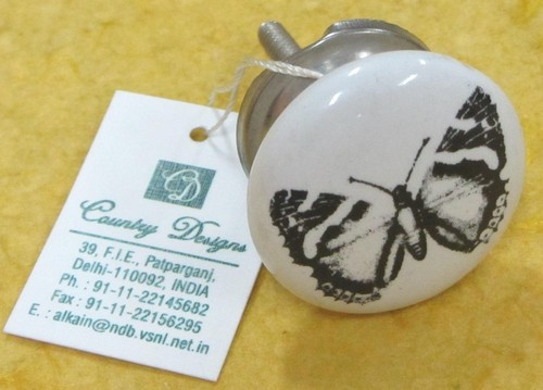 cermic metal with butterfly stamped  door knob