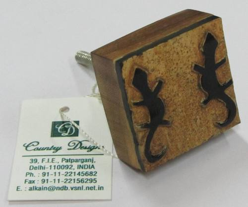 wood horn metal lizerd stamped  door knob