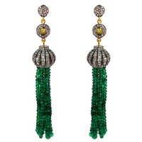Yellow Gold Emerald Beads Diamond Tassel Earrings