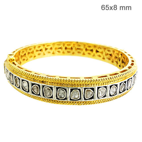 14k Yellow Gold Rosecut Diamond Designer Bangle