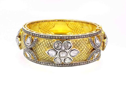 14k Yellow Gold Rosecut Diamond Silver Bangle
