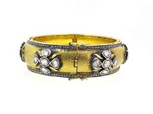 14k Yellow Gold Designer Rosecut Diamond Bangle