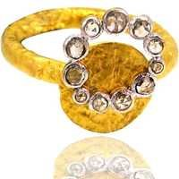 Solid 18k Yellow Gold Diamond Studded Designer Ring